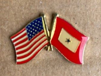 US Flag and Blue Star Hat/Vest Pin